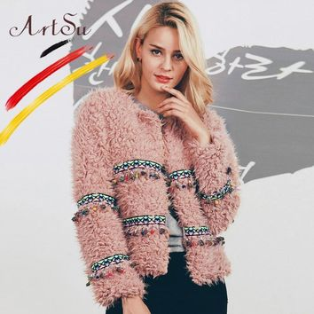 ArtSu Plus Size Apricot Pink Winter Women Curly Lamb Faux Fur Coat Ladies Ethnic Colorful Tassel Long Sleeve Fur Jacket Outwear