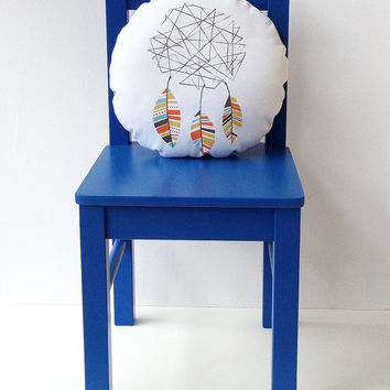 Dreamcatcher Cuddle Cushion 12 inch round accent pillow southwestern tribal modern children nursery decor primary pastel white cotton twill