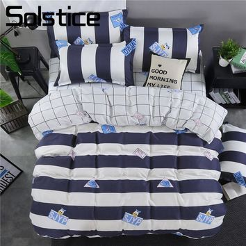 Solstice Home Textile White Stripe Euro Brief Plaid Cute Kids Bedclothes Duvet Cover Sheet Bedding Set King Queen Full Twin Size