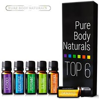 Aromatherapy Top 6 Essential Oils - Therapeutic grade - with Lavender, Tea Tree, Eucalyptus, Sweet Orange, Lemongrass & Peppermint - Basic Sampler Gift Set & Premium Kit - 6/10 Ml