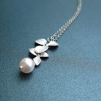 Silver orchid necklace by kute on Etsy