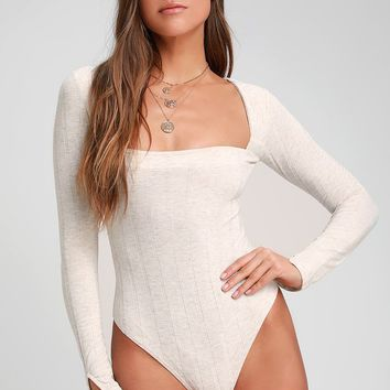 Beside Me Heather Beige Long Sleeve Square Neck Bodysuit