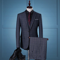Men's Plaid Casual Business Slim Fit Tuxedo Blazer Suit