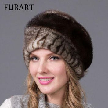 DCCKU62 Russian winter fur hat for women real mink fur hat with diamond fashion hot sale women fur cap good quality ear protector DHY-43
