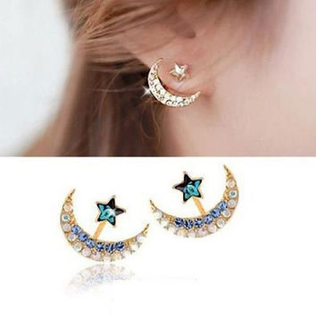 Fashion Moon Star Earrings, Women 18k Yellow Gold Filled Moon Star Shape, Crystal Rhinestone Stud Earrings