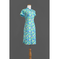 1960s Asian Style Dress / 60s Aqua Floral Hippie Dress / Medium