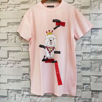 Dolce & Gabbana Women Pink Cute T-shirt