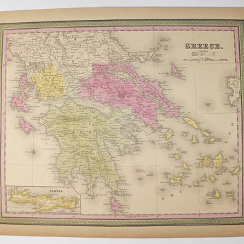 1852 Greece Map, Original Antique Map of Greece, Greek Islands Cyclades Aegean Sea 1852 Mitchell Map, Greece Wedding Gift for Couple