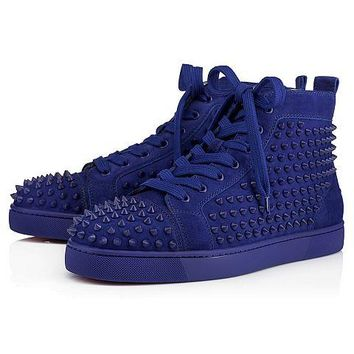 Christian Louboutin Louis Spikes Men's Women's Flat Atlantic/Atlantic Mat Suede 3101212U190