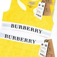 Burberry Sports Two Piece Suit Vest Tan Top With Legging Trouser Yellow