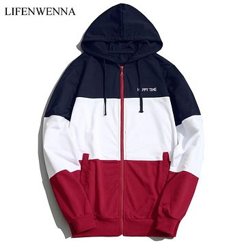 2019 Fashion Hoodies Men Sudaderas Hombre Hip Hop Mens Brand Patchwork Hooded Zipper Hoodie Cardigan Sweatshirt Men Hoody M-5XL