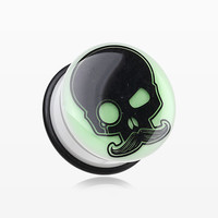 A Pair of Glow in the Dark Skull Mustache Single Flared Ear Gauge Plug