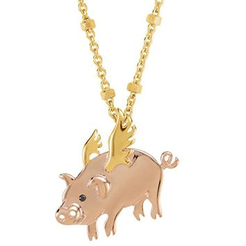 "Missoma® 18K Yellow Vermeil and Rose Gold Flying Pig 17"" Necklace for Strength"
