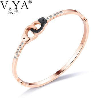 V.YA Women Handcuff Bracelets & Bangles Luxury Rose Gold Stainless Steel Jewelry 165MM Bracelets for Women Charms Gift Drop Ship