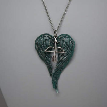 Angel Wing Pendant, Angel Wing Necklace, Crossbow and Wing Necklace, Green Angel Wing Necklace, Large Angel Wing Pendant