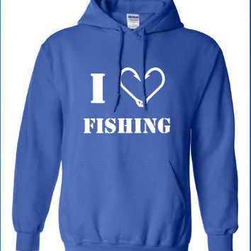 i heart love fishing fish deer buck goose hunting hunt geek cool sports hoodie hooded sweatshirt Mens Ladies Womens Funny sweater ML-235h