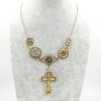 Antique Gold Multi Mechanical Gears Cross Pendant Steampunk Necklace Women`s Vintage Jewelry