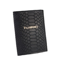 Passport Holder  Black Embossed Python Leather
