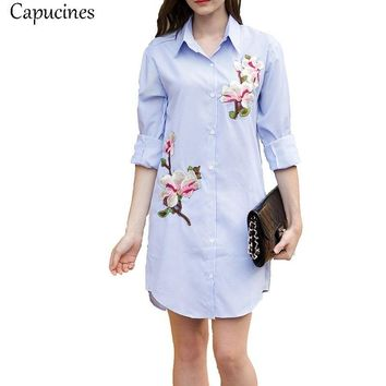 Capucines Fall Elegant Ladies Fashion Embroidery Appliques Summer Dress 2018 Woman Casual Long Sleeve Striped Dresses