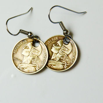 Coin Earrings - France - 5 Centimes