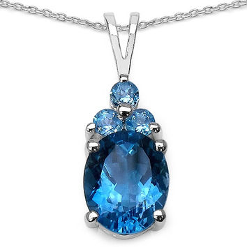 3.61 Carat London Blue Topaz Sterling Silver Pendant
