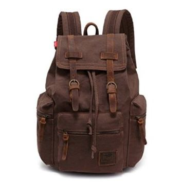 Ibagbar Durable Military Vintage Canvas Shoulders School Bag Day Bag for Boys and Girls