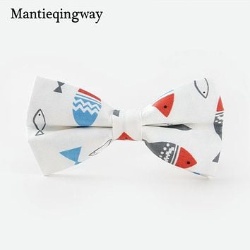 Fashion Fish Duck Pattern Bow Tie Mens Neckwear Accessories Classic Cotton Bow Ties For Mens Wedding Slim Gravatas