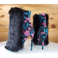 "Nelly B Bestie Black Multi Vegan Fur Open Toe 4.5"" High Heel Ankle Boots"