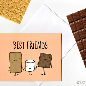 S'Mores Best Friends greeting card with Envelope blank inside