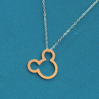 Gold Mickey Mouse Necklace , Disney Jewelry , Mickey Mouse Jewelry , Gold Mouse Necklace , Cute Everyday Necklace  , Minnie Mouse