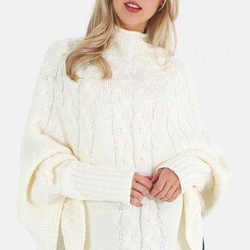 Cape Style Sweater -  Ivory