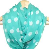 Chiffon Mint Green White Polka-dot Infinity Scarf, Infinity Shawl, Women Accessories