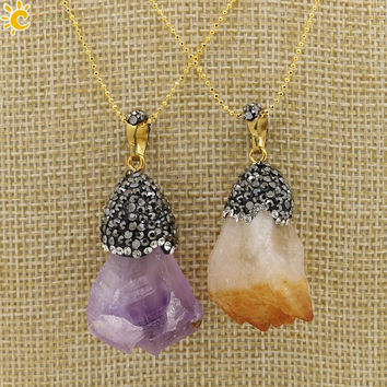 VIP CSJA 2017 Suspension Charms Pendant Statement Necklace Real Natural Stone Amethyst Purple Quartz Crystal Rhinestone Beads Women Jewelry E151