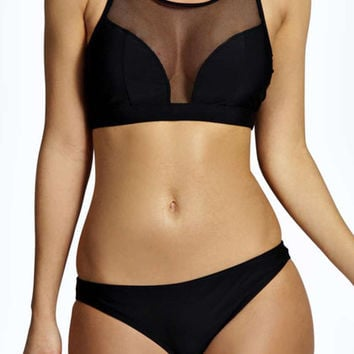 Black Mesh Panel Bikini Swimsuit Set