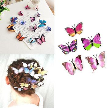 LMF78W 5Pcs Butterfly Flower Wedding Hair Clip Hair Claw Clamp Party Bridal Hair Pins
