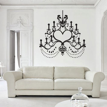 Wall decal decor decals art chandelier lamp light decoration curl candle design mural bedroom (m990)