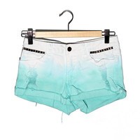 Studded and Dyed Ombre Mint and White Shorts