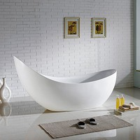 MAYKKE Hialeah 79 Inches Modern Unique Specialty Acrylic Bathtub Freestanding White Tub in Bathroom, 13-13/16 Inches Water Depth, XDA1421001
