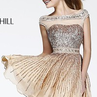 Short Sequin High Neck Dress with Cap Sleeves