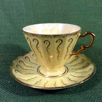 Lusterware Yellow and Gold design Tea Cup - Perfect Condition