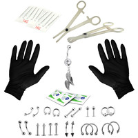 BodyJ4You Body Piercing Kit Leaf Bow Belly Rings Tongue Targus Ear Eyebrow Nipple Lip Nose Jewelry 36 Pieces