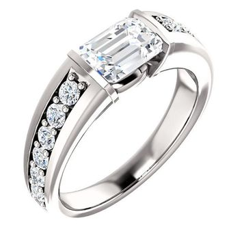 1.0 Ct Emerald Accented Diamond Engagement Ring 14k White Gold