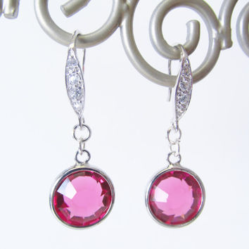 Sterling Silver Earrings - Hot Pink Glass Drop Earrings - Round Rhinestone Dangle Earrings - Birthday Gifts for Her - Pink Circle Jewelry