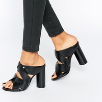 Senso Black Leather Heeled Mule Sandals