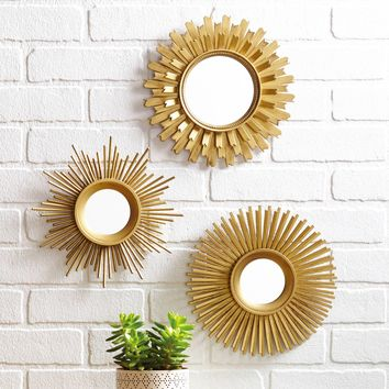 Better Homes and Gardens 3-Piece Round Sunburst Mirror Set in Gold Finish
