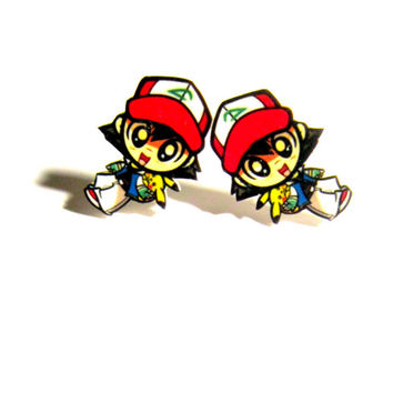 chibi ash earrings, gifts for geeks, geek girl, 90s fashion, 90s kawaii, anime