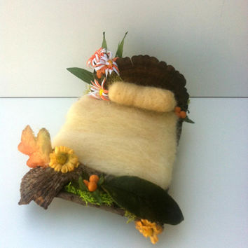 Forest Whimsy Yellow woodland fairy bed needle felted wool bedding moss twigs and flowers Waldorf , Woodland and fantasy