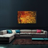 Orange and Red Landscape Painting, Wall Hanging Art on Canvas, Original Painting, Large Tree Art, Sunset Art, Large Wall Art, By Nandita