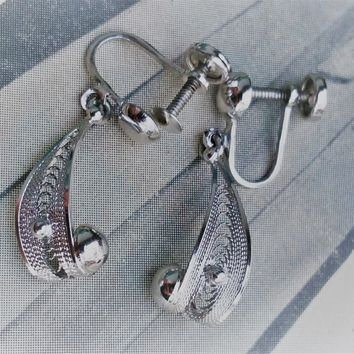Sorrento sterling silver signed vintage earrings screw back