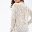 Crochet-Paneled Open-Knit Sweater